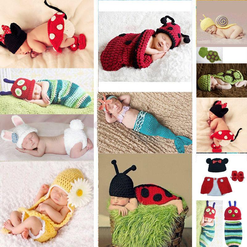 Baby Girls Boy Newborn-9M Knit Crochet Mermaid Minnie Clothes Photo Prop Outfits(China (Mainland))
