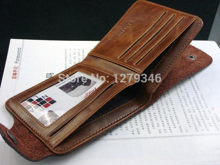 Bailini new stylish Men wallet genuine cow Leather Pockets Card Bifold Purse