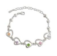 2014 Fashion Women Crystal Jewelry Sterling Silver Bracelet Heart-shaped Bracelets & Bangles Silver Bracelets ML-479