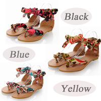 2014 New Summer Fashion Women Sandals Shoes Flats Floral Print Toe-post Thin Shoes Sandals Round Toe