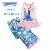 Retail Baby Girls Summer Clothing sets 100%cotton Fashion Girl's suit sets Frozen Princess Elsa&Anna pajamas Sets T-Shirt+ pants