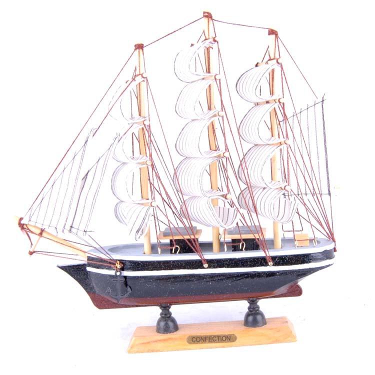 24cm Wood Model Ship,Mediterranean Style Nautical Decor Sailing Ship, Handmade Gift Home Decoration Crafts Free Shipping(China (Mainland))