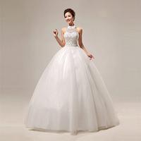 2014 Hot Sale New Stylish Beige Lace Sweet Wedding Dresses/ Summer Neat Halter Lace-up Bridal Dress/Plus size Women Clothing