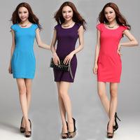 S-XXL 5 colors! Free Shipping 2014 Summer Dress Women Korean New Fashion Slim Hip All-match Render Dress