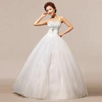 2014 New Fashion Women Wedding Dress/Brand Summer Beige Strapless Crystal Bridal Dress/Designer Ball Gown Women's Clothing