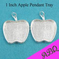 1 Inch Apple Cabochon Settings, Alloy Pendant Trays, Blank Bezel Pendants