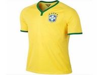 Free Shipping 2014 Brazil yellow player version soccer jerseys thai 3AAA quality football shirts