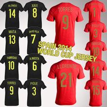 Spain 2014 Brasil world cup soccer jerseys Espana Xavi Pique Torres Fabregas Mata Alonso ramosSoccer jersey(China (Mainland))