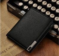 Free Shipping ! 2014 new men wallets genuine leather European concise design long black wallet men purse