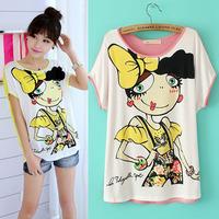 New 2014 women summer tops o-neck short sleeve cartoon characer print t shirt ladies cotton casual tees free shipping