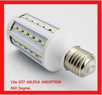 SMD5730 Chip E27 12W 220v corn light bulb,360 luminous,60led,free shipping