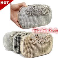 2014 New Luxury Women's Metal Case Full Diamond Clutch Upscale Czech Rhinestone Flower Buckle Party Evening Bag Handbag Tote bag