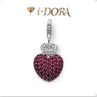2014 Hot sell diy ts fashion charms bracelet alloys silver plated enamel jewelry pendant diamante crown hearts TS8705 wine