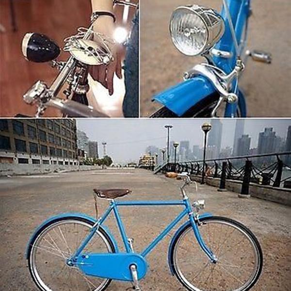2 colores para elegir retro vintage faro de la bicicleta bicicleta frente 5 de luz led con soporte