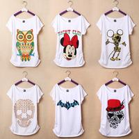 2014 New Women  T Shirts OWL Skull Printed Cotton Tops Tee Cartoon Girl T-Shirts