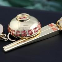 Z005 Golden Chinese Style Bowl and Chopsticks Keychain Key Chain Ring Keyring Keyfob