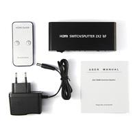 HDMI V1.4a Splitter 2X2 switch video audio converter adapter support HDTV 1080P 3D IR Remote