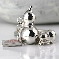 M85007 Polished Silver Chinese Style Gourd Keychain Key Chain Ring Keyring Keyfob