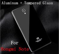 """Xiaomi Redmi Note, Aluminum Metal Tempered Glass  Hongmi Note Battery Cover Case For Xiaomi Red Rice Hongmi Redmi Note 5.5"""" Inch"""