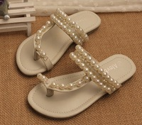 2014 new summer girl pearl sandals Baby shoes pinch slippers children shoes