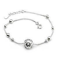 (4pcs/lot) AAA 100% Sterling Silver 925 Jewelry Delicate Hollow Ball Bracelet Female Bracelet Genuine Free Shipping