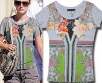 2014 New arrival fashion print hot drilling short sleeve cotton t shirt women 2colors S,M,L Wholesale price