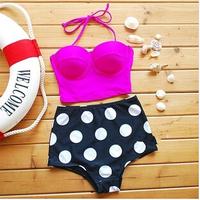 2014 New Arrival women Sexy Vintage Retro Bikini High Waisted Push Up Bandeau Pot Bikinis Swimwear  Hot sale Swimsuit Set #1021