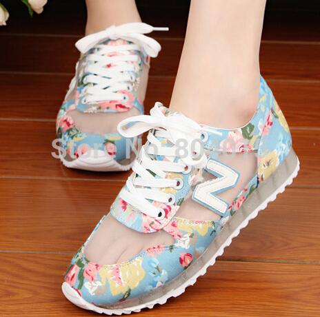 The new free shipping summer 2014 han edition N sneakers female lacing net yarn recreational shoe tide South Korea single(China (Mainland))