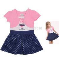 2014 new Peppa pig girl party dress baby girls summer knee lengh peppa princess dress Kids children clothing vestidos de menina