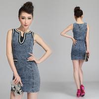 New 2014 Women Girls Spring Summer Fashion Casual Brand Elegant Silm Beading V-neck Sleeveless Jeans Dress Free Shiping Y051251