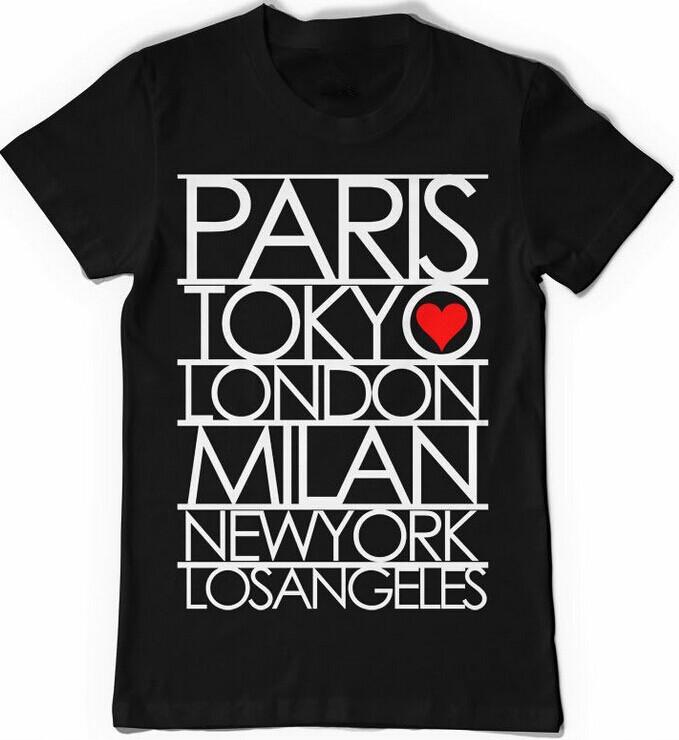 New 2014 PAris Tokyo Londres Milan New York Exclusiva Hombres Men T-Shirt 100% Short Sleeve Cotton Printed Custom T-shirt(China (Mainland))