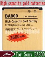 Freeshipping + 2680mAh Li-ion Gold Battery for Sony Xperia S LT26i Xperia Arc HD LT25i LT25C BA800 Batteries Batterij Bateria