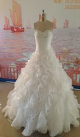 Real Photos Custom Made Bridal Gown Ruffles Organza Cheap Wedding Dresses Free Shipping D18