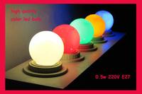 Holiday decoration light led bulb colorful,220v 0.5w ,6500k,3leds,multi-color,20pcs/lot