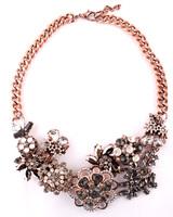 New 2014 JC necklace & pendants fashion luxury choker design bib crystal flower pendant necklace statement jewelry High Quality