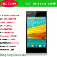 Original THL T100S T100  Smartphone 5.0 Inch 1920X1080 MTK6592 Octa core 1.7GHz  2GB RAM 32GB ROM 13MP +13MPDual Camera 3G