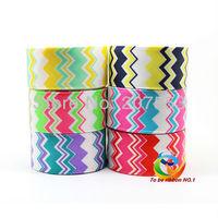 Free Shipping 12yards 1inch 25mm Sea Wave Printed Grosgrain Ribbon  colour chevron patten