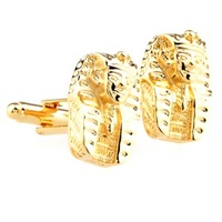 Golden Ancient Egyptian Sphinx Portraits Cufflinks