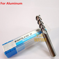 1x Special End Mills For Aluminum,3Flute Diam10mm*10mmShank*75mm Length Solid Carbide Square End mills,Free shipping