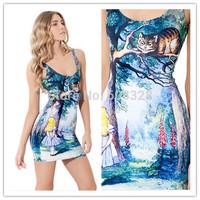 NEW 2014 Fashion Womens Alice in Wonderland Cheshire Cat Galaxy Digital Print Dress Ladies Casual Stretchy Skinny Mini Dress