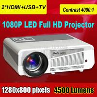 4500 lumens home theater 3d led projector full hd 1080p vide lcd cell phone proyector logo projektor DVD slide cinema beamer