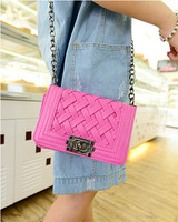 2014 New fashion Pu leather women messenger bag Weave bag long Chain small shoulder bag WH108