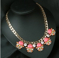 Sweet Pink stone necklace drama statement sweetheart fashion Gold Plated Shiny Chain Chunky Costume Collar Necklace