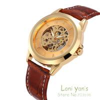 SHENHUA New Arrival Men Skeleton Watch Mechanical Leather Wrist Watch Free Ship