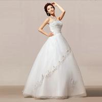2014 New Brand Beige Strapless Wedding dress/Floor Length Bridal dresses For Women/Fashion Crystal Backless Wedding dresses