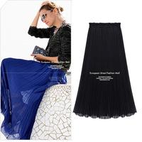 176X XXXL XXXXL Plus Size 2014 New Spring Summer Sweep Pleated Long Ankle Length Chiffon European Style Woman's Elegant Skirts