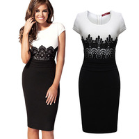New 2014 Fashion Summer Dresses Patchwork Lace Knee Length Short Sleeve O Neck Women Casual Dress Prom Evening Dresses In Stock