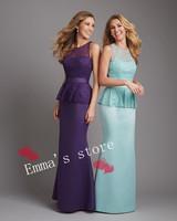 Hot Sale Free Shipping 2014 Custom Made Elegant Straps A-Line Floor Length Chiffon Purple Blue Bridesmaid Dresses