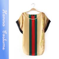 New arrival 2014 summer striped print women chiffon t-shirt Short sleeve casual t shirt ladies woman clothes