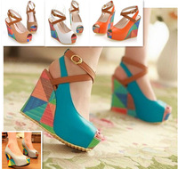 High Quality Hand-made Open Toe High Heel Shoes Women Fashion Wedges Summer Sandals RL706N